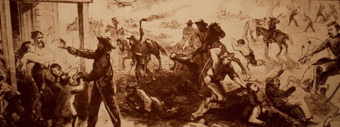 One of the many paintings that depict Quantrill's 1863 brutal raid on Lawrence, Kan. (Photo courtesy of the Lawrence, Kansas Convention & Visitors Bureau)
