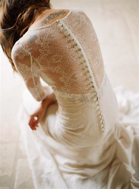 Long Sleeved Lace Back Button Wedding Dress ? Mademoiselle