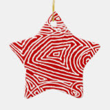 Scribbleprint Star (One Sided) Double-Sided Star Ceramic Christmas Ornament