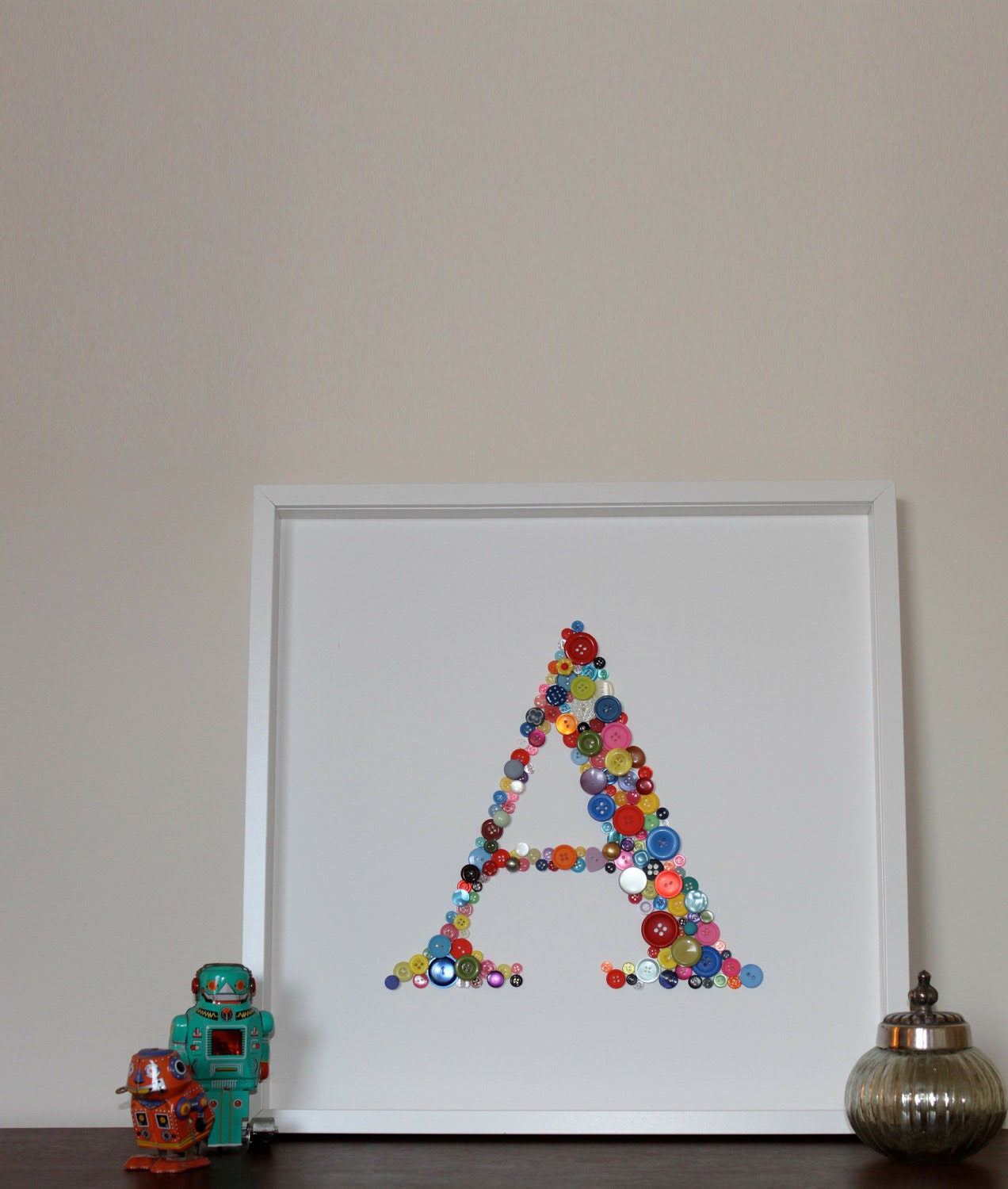 Large Letter - Button Framed Picture