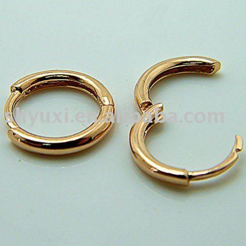 gold hoops earrings. Solid 18K Rose Gold Hoop