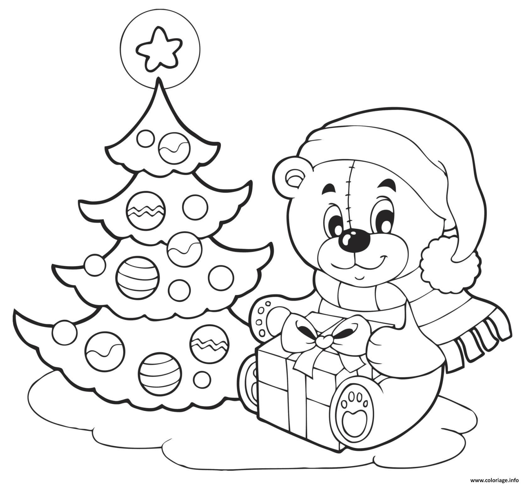 Coloriage Sapin De Noel Et Nounours Avec Un Cadeau De Noel Dessin  Imprimer