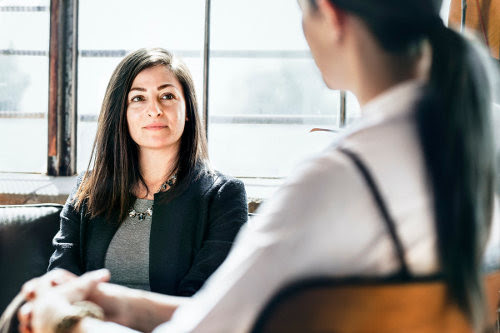 Entrepreneur consulting with a psychotherapy