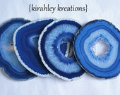 AGATE Coasters -- XLARGE 4 Piece Royal Cobalt Sky Blue Crystal Geode Slices Choose Silver Gold Copper Edges, Wedding Birthday Hostess Gift