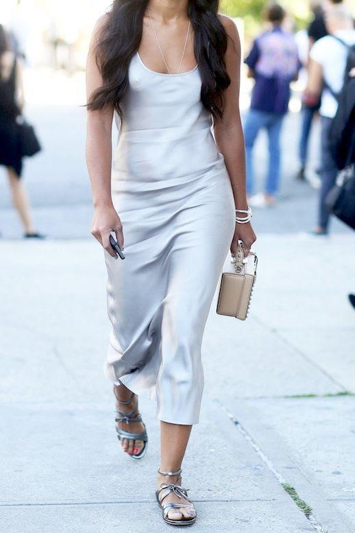 Le Fashion Blog Street Style Nyfw Silver Silk Slip Dress Studded Mark Cross Box Bag Metallic Flat Sandals Via Popsugar