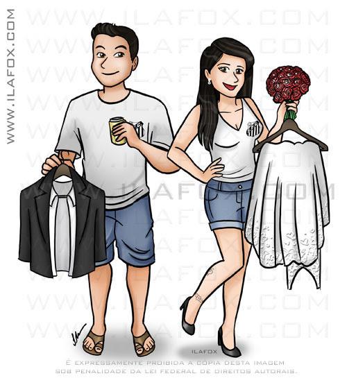 caricatura casal, caricatura desenho, caricatura corpo inteiro, by ila fox