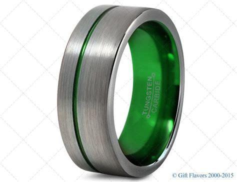 Mens Tungsten Ring,Green 8mm Men Tungsten Rings,Green