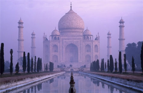 Image result for taj mahal purple sky""