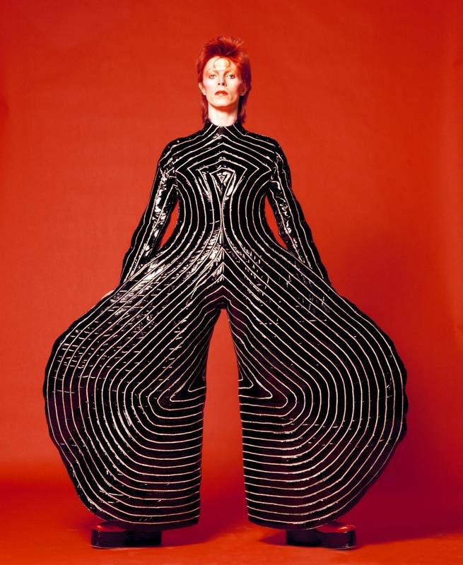 """The striped bodysuit for David Bowie's """"Aladdin Sane"""" tour in 1973 epitomizes the musicians's over-the-top glam period, explored in the """"David Bowie Is"""" exhibit at the Museum of Contemporary Art starting Tuesday, Sept. 23."""