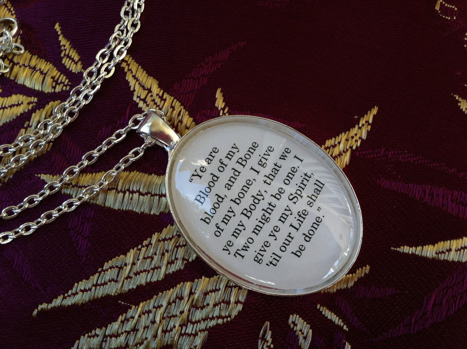 Outlander Ye are blood of my blood Book Quote Charm Oval Pendant Necklace Diana Gabaldon