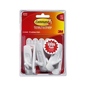 Command 17001-VP-6PK Medium Plastic Hooks Value Pack