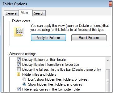 show hidden files windows 7