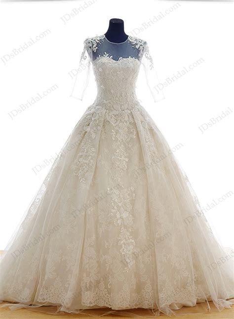 IS048 Luxury lace princess wedding dress with big