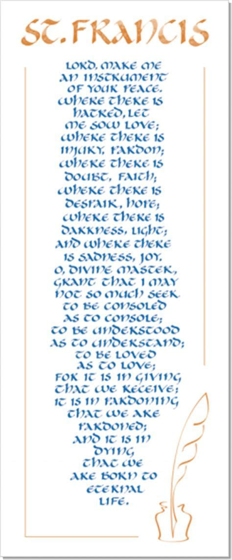Peace Prayer of St. Francis, Calligraphy Art Plaques
