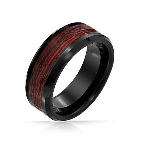 Wood Inlay Black Beveled Edge Tungsten Comfort Fit Wedding