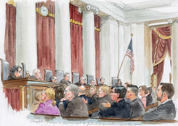 Wide-shot of courtroom as Kennedy's announces opinion (Art Lien)