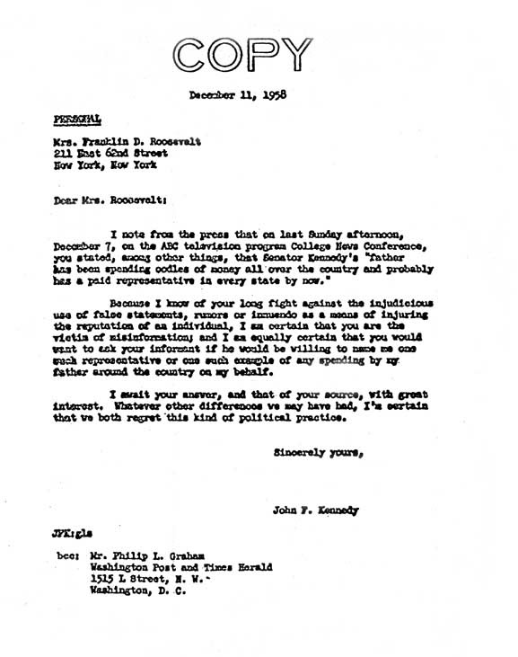 Image of letter by John F. Kennedy to Eleanor Roosevelt 1