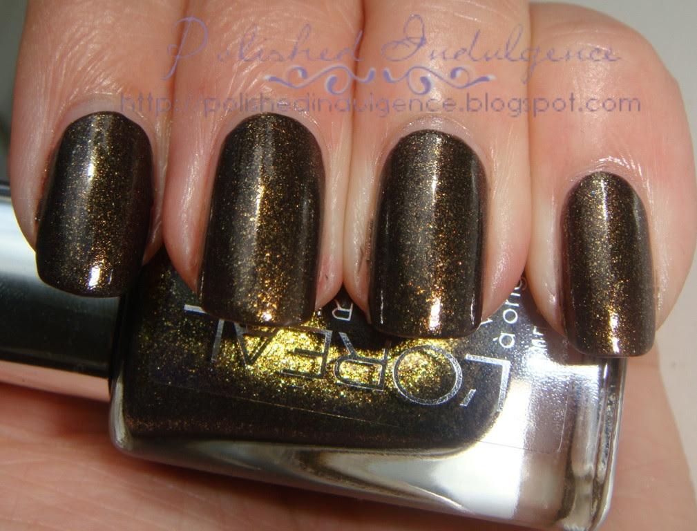 brown with gold nail polish