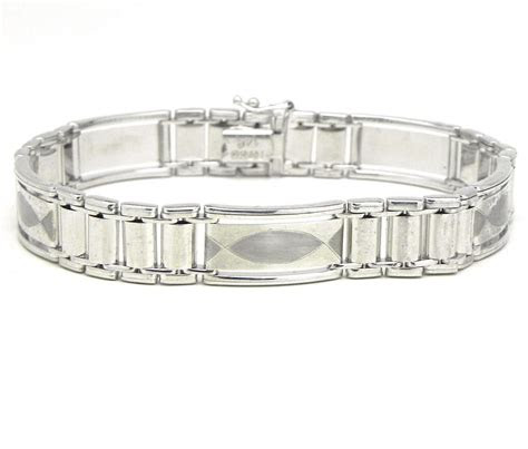 mens  white gold rectangular link bracelet bright