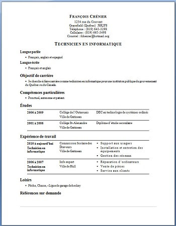 Exemple De Cv Technicien Support Informatique