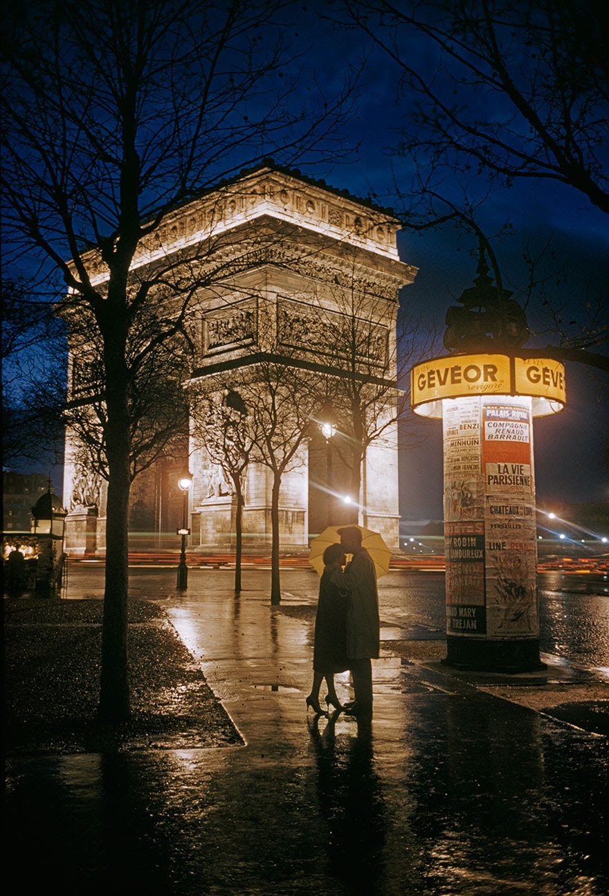 Young Lovers Embrace Beside The Arc De Triomphe In Paris, 1960