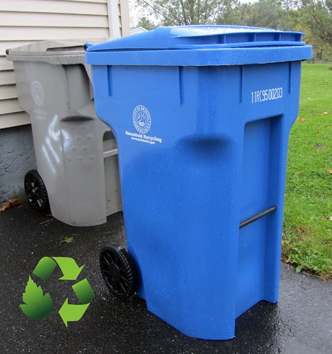 Single-stream recycling bin