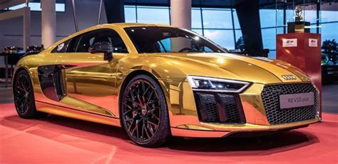 One off gold Audi R8 V10 plus on display in Germany