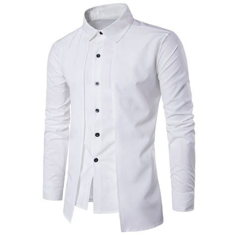 2018 Autumn Cotton Formal Dress Shirts Mens Long Sleeve