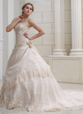 Ball-Gown Strapless Chapel Train Organza Satin Wedding Dress With Ruffle Lace Beading Crystal Brooch Flower(s) (002000356)