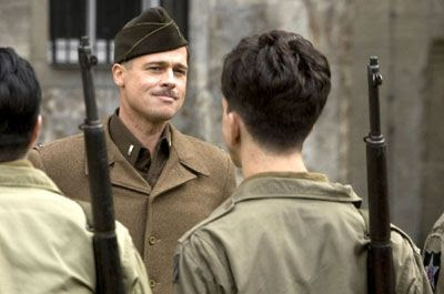 1st Lieutenant Aldo Raine (Brad Pitt) addresses his fellow 'Basterds' in INGLOURIOUS BASTERDS.
