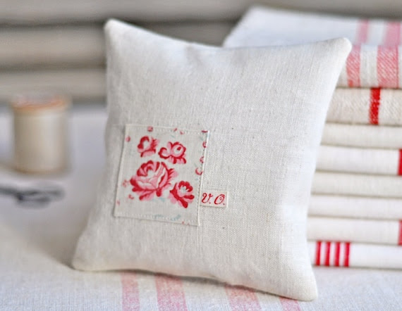 lavender pillow made with vintage french textiles
