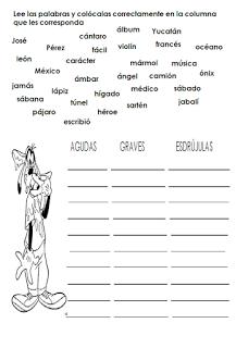 Palabras Agudas Graves Y Esdrujulas Ejemplos Para Niños Ejercicios Colección De Ejemplo