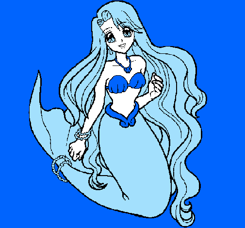Colored page Little mermaid painted by mermaid melody