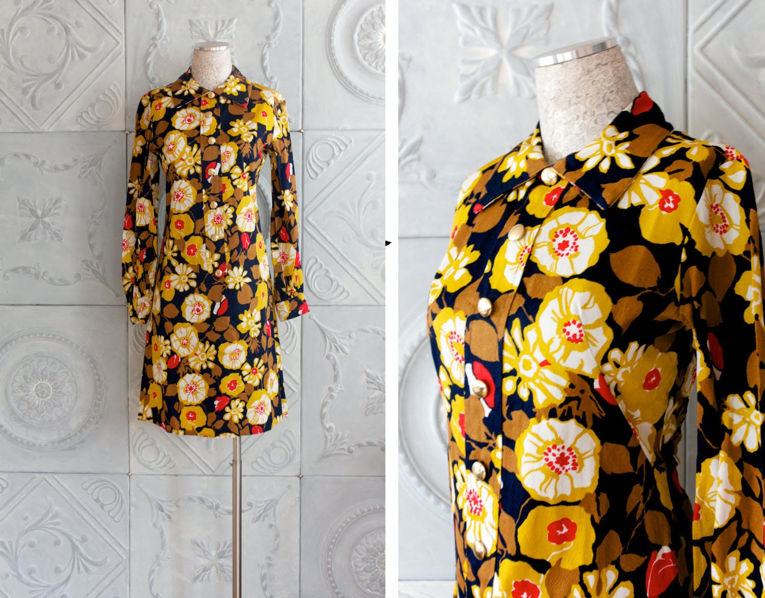60s Vintage Floral Dress . yellow red blue shift dress . MILLIE RUSH (Medium)