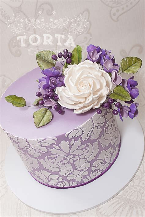 Purple Damask Birthday Cake   CakeCentral.com