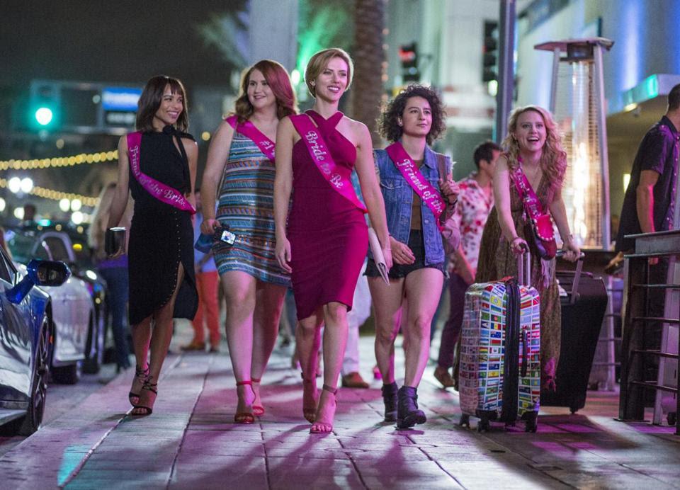 "From left: Zoe Kravitz, Jillian Bell, Scarlett Johansson, Ilana Glazer, and Kate McKinnon in ""Rough Night."""