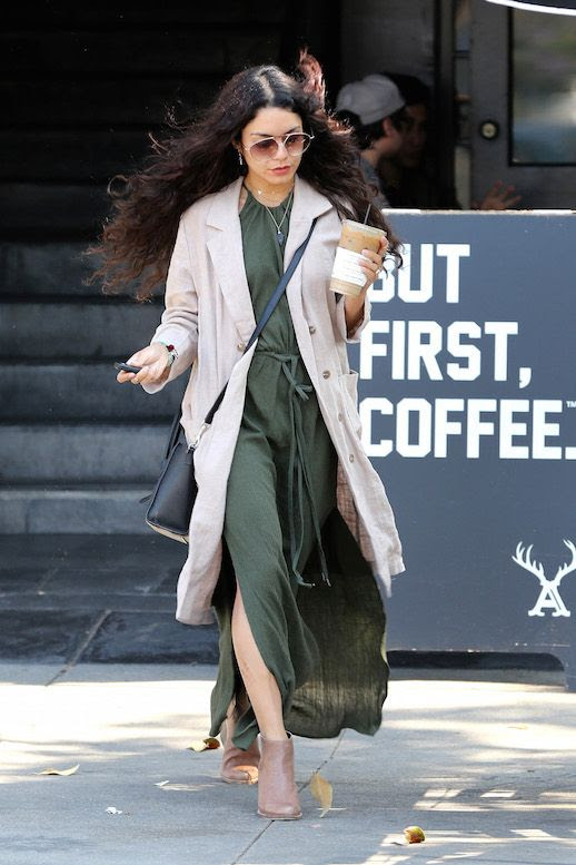 Le Fashion Blog Celebrity Style Olive Green Slit Maxi Dress Light Weight Trench Ankle Boots Vanessa Hudgens Via Hudgens Online