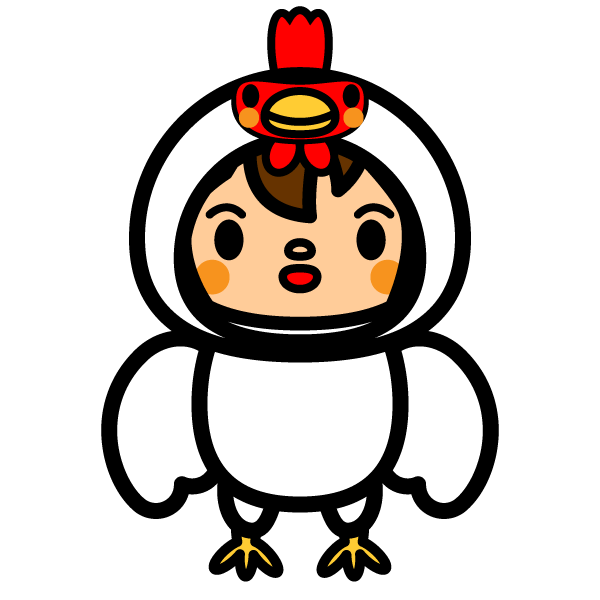 かわいい鶏の着ぐるみの無料イラスト商用フリー オイデ43