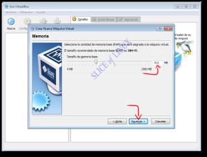 Seleccionamos la memoria RAM de la máquina virtual