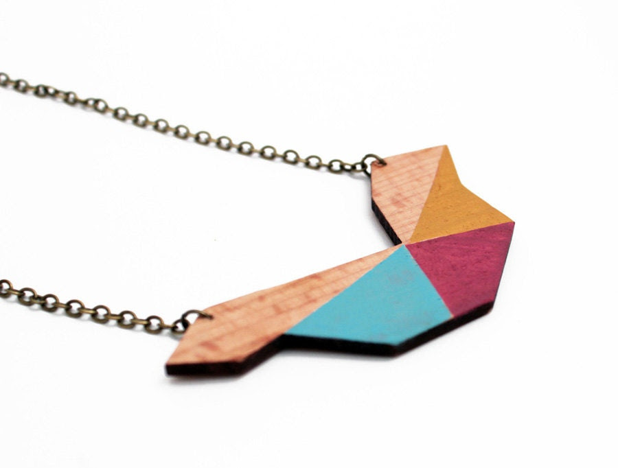 Geometric polygon wooden necklace - mustard, water blue, purple, natural wood - minimalist, modern jewelry - color blocking