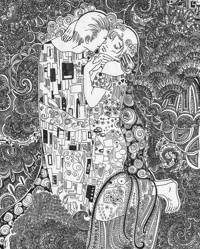 Disegno Da Colorar Antistress San Valentino Il Bacio Klimt 8