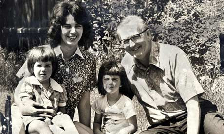 Tom Sharpe with his wife Nancy and daughters Grace and Jemima in 1975