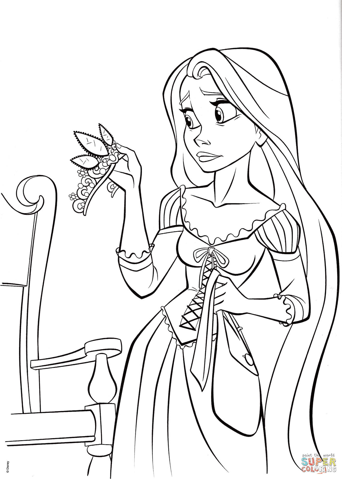 Princess Rapunzel with Crown coloring page | Free ...