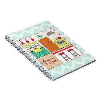 Retro Kitchen & Zig Zag Recipe Notebook notebook