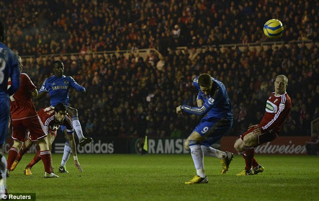 Off the back: Fernando Torres 'scored' after Ramires' shot clipped him on the way in