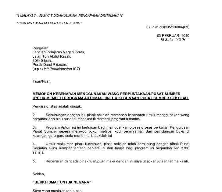 Contoh Surat Rasmi Permohonan Lanjutan Kontrak Surat Rasmi G