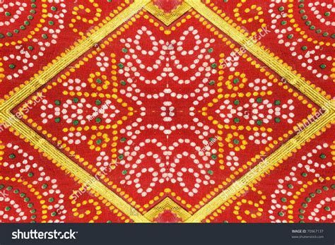 Colorful Indian Saree Fabric Floral Patterned Stock Photo