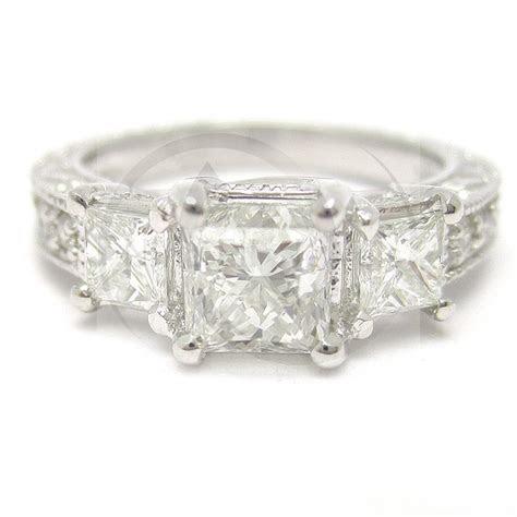 princess cut  stone antique style diamond engagement
