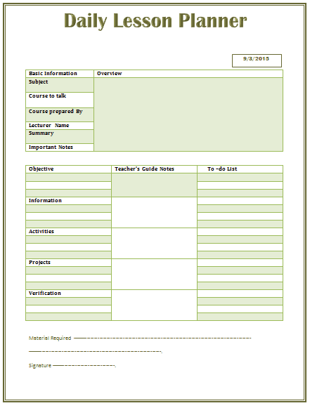Lesson Plan Template 2017 | Business Plan Template
