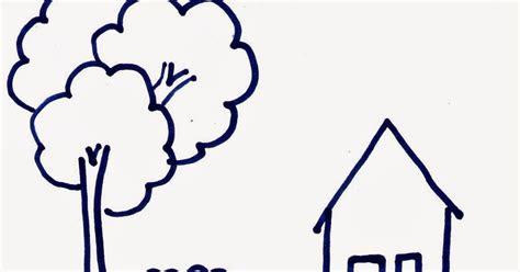 tutorial gambar rumah  anak tk
